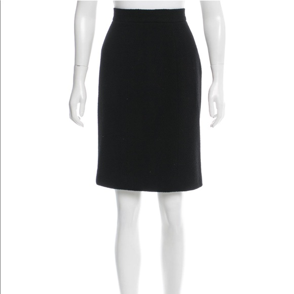 Chanel Skirts Authentic Black Boucl Pencil Skirt Poshmark
